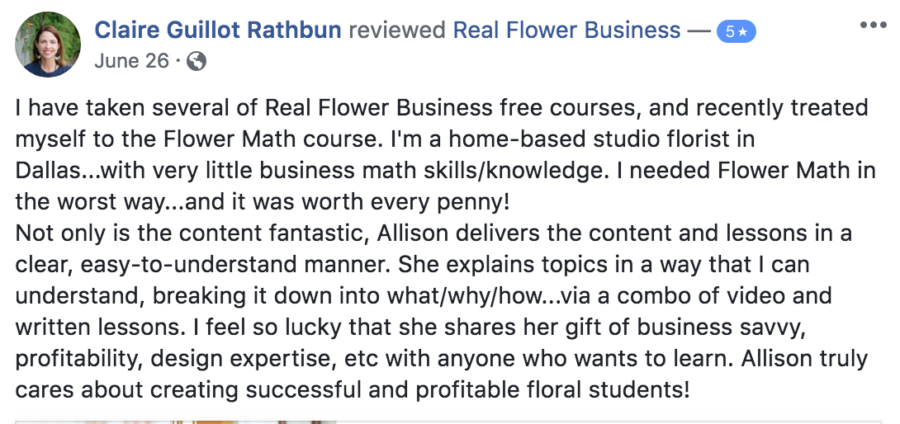 Flower Math review, online courses for florists
